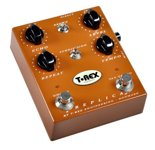 T-Rex Engineering REPLICA Digital Delay Guitar Effects Pedal with Active Tap Tempo, Subdivision and Brown Controls as well as Echo, Repeat, Tempo and Level Knobs for Precision Fine Tuning; (10006)