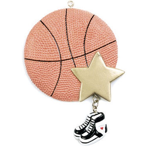 Personalized Basketball Christmas Tree Ornament 2019 - B-Ball Gold Star Sneakers Dangle Team Athlete Hobby School Active Foot Profession Year - Free Customization