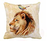 Ink painting animal lion Cotton Linen Throw Pillow covers Case Cushion Cover Sofa Decorative Square 18 inch