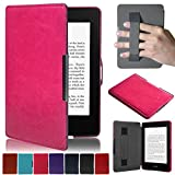 Artyond Kindle Paperwhite Case, Crazy Horse Pattern PU Leather Case [Hand Strap Holder] Smart Magnetic Soft Case For Amazon Kindle Paperwhite 1 2 3(Fits All 2012, 2013, 2015 and 2016 Versions) (rose)