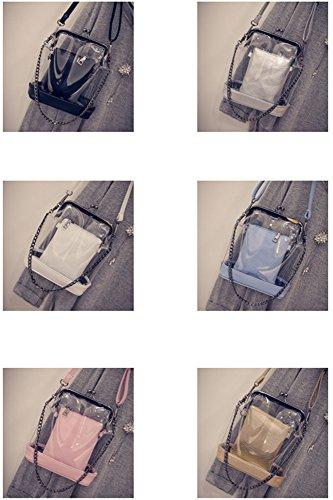 Rrock blue De Colores Madre Bolsos Bolsa Transparente Seis Fashion Clip Jalea Cadena FxFPq