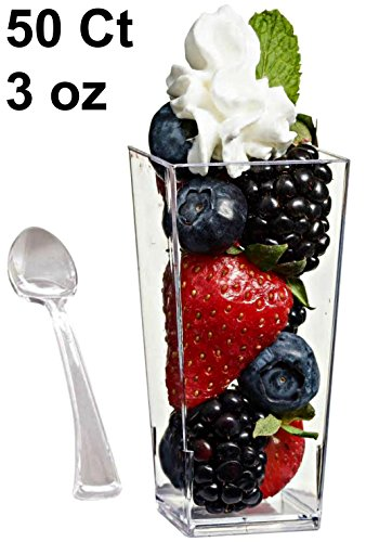 Tall Glass Bowl (Zappy 50 Mini Dessert Cups Plastic Tall 3oz Square Dessert Cups Tasting Plastic Shot Glass Shooter Cups Parfait Glasses Appetizer Bowls Trifle Bowl Tumbler Shooter 50 Dessert Cups 50 Tasting)