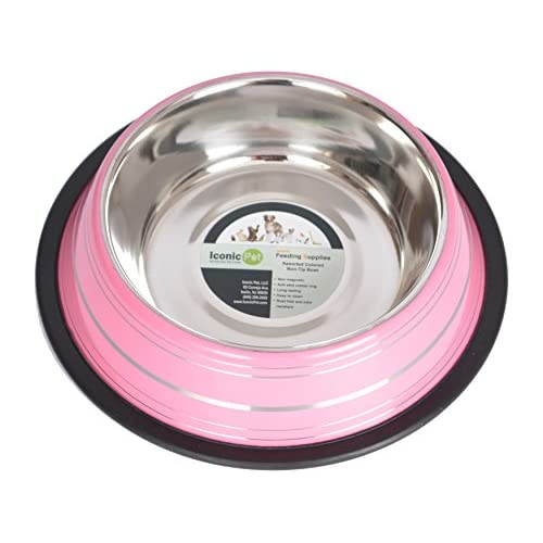 Iconic Pet Color Splash Stripe Non-Skid Pet Bowl
