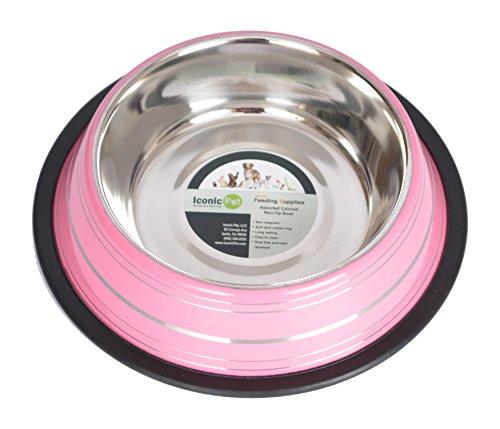 Iconic Pet Color Splash Stripe Non-Skid Pet Bowl, 8-Ounce, (Splash Pet Bowl)