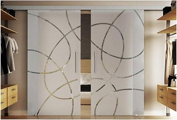 Puerta de vidrio de 2 cristales de vidrio templado-paneles de vidrio en cada 77,5 x 205 cm en vidrio templado-vidrio esmerilado con Forma-diseño (EF) Levidor EasySlide-sistema completo. Ejecución de rieles y barras