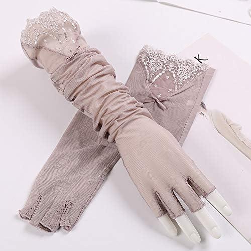 BAJIMI UVカット手袋 手触りが良い ファッション女性のUPF50 +ロングレーススリーブアイスワイヤーアームセット半指運転滑り止めサンバイザー 夏 ハンド ケア レディース/メンズ (Color : Pink-B, Size : One size)