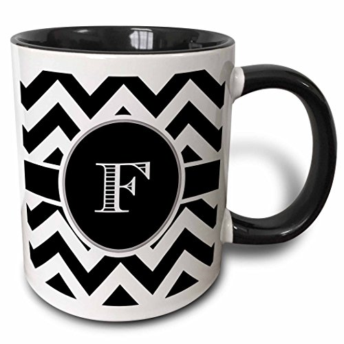 3dRose 222068_4 Black And White Chevron Monogram Initial E Mug 11 oz (Mug F Letter)