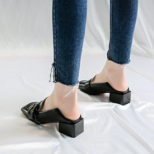 Btrada Womens Retro Penny Mocassini Scarpe - Fibbia In Metallo Punta Quadrata Blocco Tacco Medio Pompa Slip-on Scarpe Piatte Nere