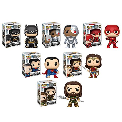 Pop! Movies: Justice League Funko Pop! Set of 6 - Superman, Batman, Wonder Woman, Aquaman, Cyborg and The Flash