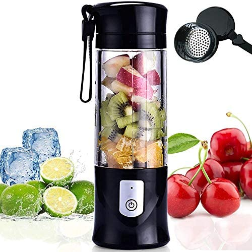 Portable Juicer Blender, USB Travel Juice Cup Baby Food Mixing Machince with Updated 6 Blades with Powerful Motor 4000mAh Rechargeable Battery,13Oz Bottle(black)