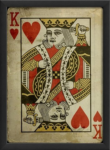 The Artwork Factory King of Hearts Framed Print - game room home wall art decor