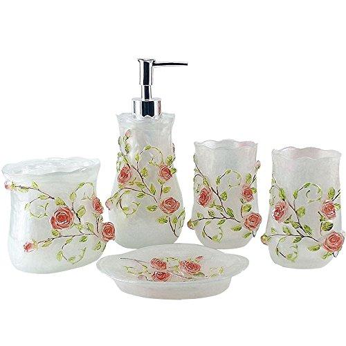 (LUANT Resin 3D Roses 5PC Bathroom Accessories Set Soap Dispenser/Toothbrush Holder/Tumbler/Soap Dish (White))