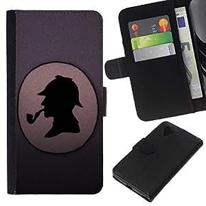 All Phone Most Case / Oferta Especial Cáscara Funda de cuero Monedero Cubierta de proteccion Caso / Wallet Case for LG Nexus 5 D820 D821 // Pipe Detective Portrait Profile Drawing Art
