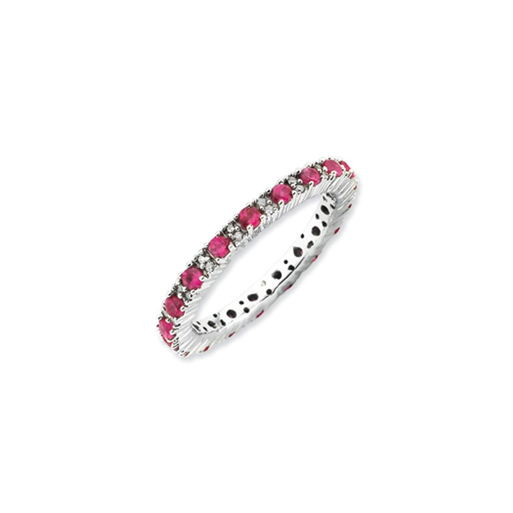 2.5mm Stackable Created Ruby & .13 Ctw HI/I3 Diamond Silver Band Sz 6