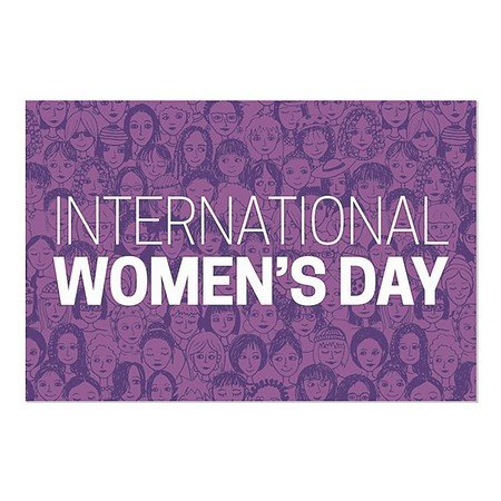 CGSignLab | ''Women's Day -Purple'' Repositionable Opaque White 1st Surface Static-Cling Non-Adhesive Window Decal (5-Pack) | 30''x20'' by CGSignLab