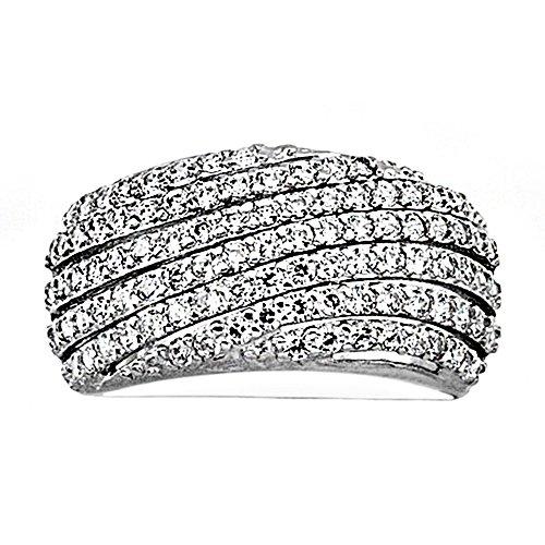 Bague 18k or blanc cubique bandes de zircone [AA7186]