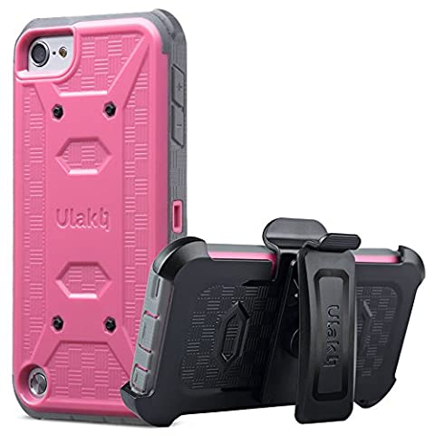 iPod Touch 6th generation case with screen protector,ULAK KNOX ARMOR Shockproof Dual Layer Belt Clip Holster Fullbody Protective Case Bumper Hard Cover for Apple iPod Touch 5/6th Generation-Rose (Ipod 5th Generation With Holster)