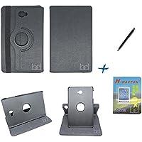 Kit Capa Case Galaxy Tab A Note - 10.1´ T580/T585 Giratória/Caneta Touch + Película de Vidro (Preto)