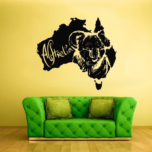 Wall Vinyl Sticker Decals Decor Australia Animal Map Koala Bear - In Australia Usps