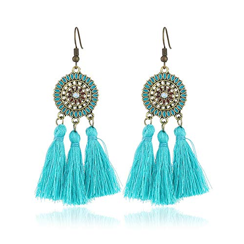 Shaped Tassel (XQY Novelty Jewelry - Round Earrings/Fashion Fan-Shaped Tassel Earrings/Retro Exaggerated Fashion Jewelry Accessories,Blue,One Size)