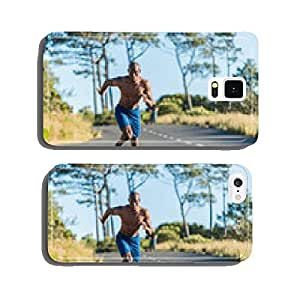 Athletic, black male running along a road cell phone cover case iPhone6