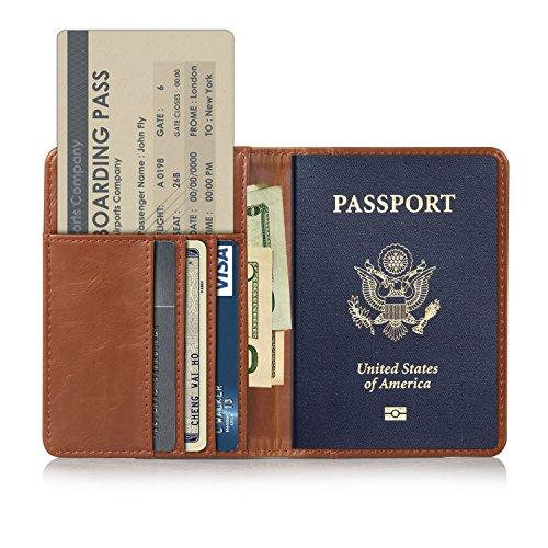 EpicGadget(TM) RFID Blocking Premium Leather Passport Holder Travel Wallet Cover Case (Brown)