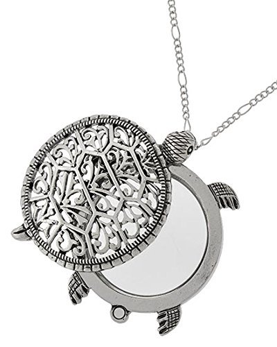 Sea Turtle Magnifier Magnifying Glass Sliding Top Magnet Pendant Necklace, 30'' (Silver Tone) by Artisan Owl (Image #1)