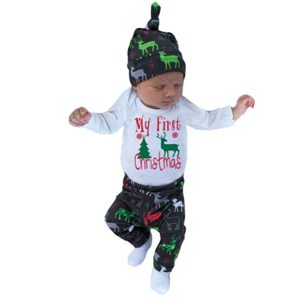 Voberry Christmas Newborn Baby Girls Boys Outfits Clothes 3Pcs Deer Romper+Pants+Hat Set for 0-18 Months