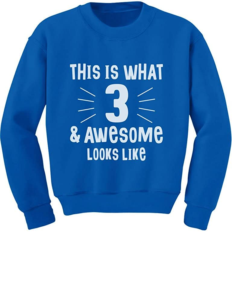This is What 3 /& Awesome Looks Like 3 Year Old Birthday Toddler//Kids Sweatshirt