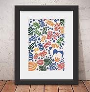 Quadro Decorativo Poster Matisse Abstrato & Vidro Anti-Reflexo & Paspatur
