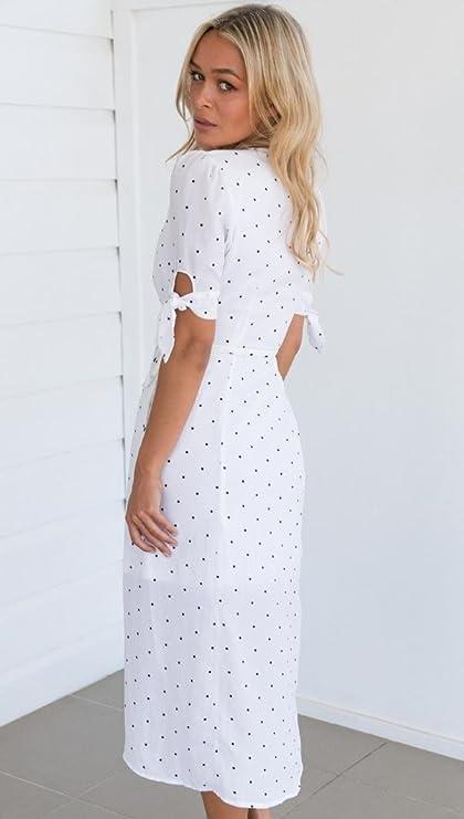 La mujer vestido verano, Sonnena ❤ ❤ ❤ Bohemian blanco vestido de Mangas de longitud media con negro puntos Suelto suave cuello-V vestido casual ...