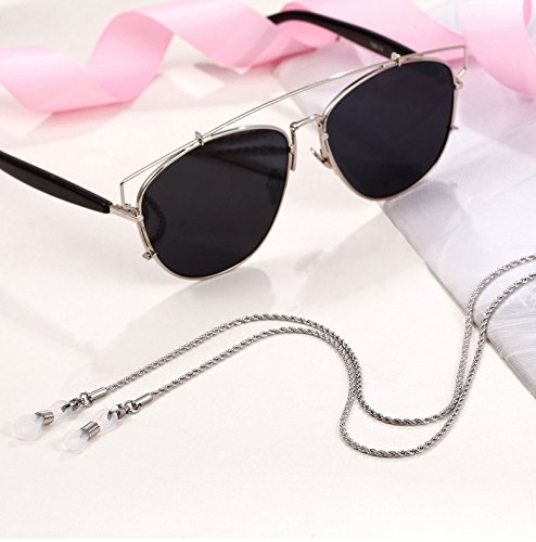 Stainless Steel Eyeglass Chains Glasses Holder Sunglass Holder Strap Eyeware Cord (Silver)