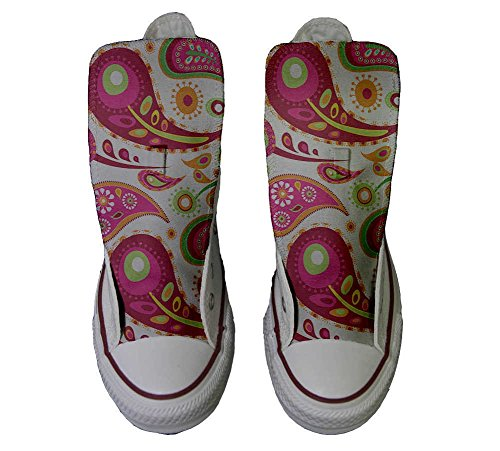 White Converse Schuhe Green Paisley Star personalisierte 2 Handwerk Schuhe All Hi Customized XqHxXZ8