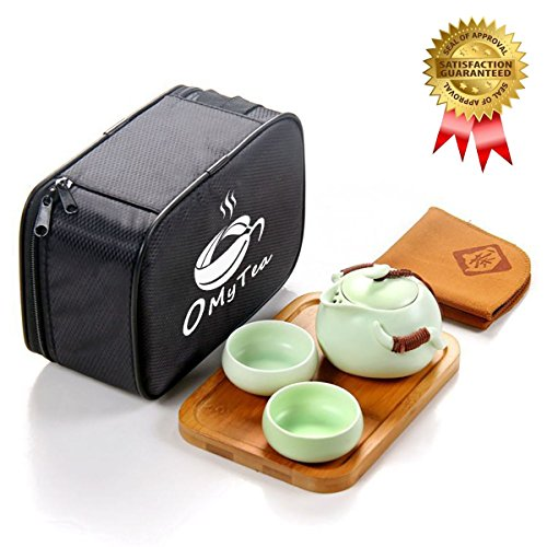 Tea Teacups Teapot Porcelain Set - OMyTea Portable Travel Tea Set - 100% Handmade Chinese / Japanese Vintage Kungfu Gongfu Tea Set - Porcelain Teapot & Teacups & Bamboo Tea Tray & Tea Mat with a Portable Travel Bag (Green-2 cups)