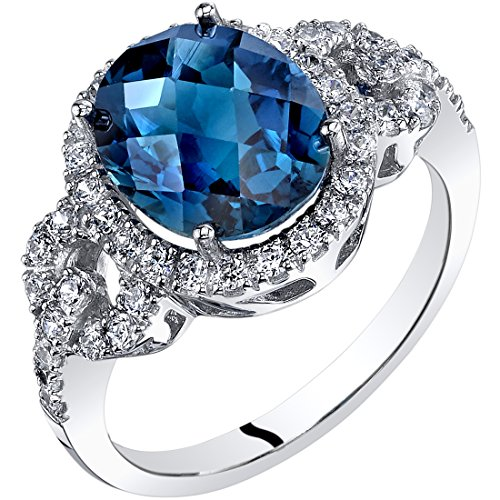 (14K White Gold London Blue Topaz Ring Oval Checkerboard Cut 3.00 Carats size 8)
