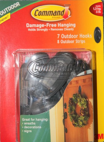 COMMAND Outdoor Hooks, 7 Pieces, Outdoor Gray, Holds 3 Lbs.