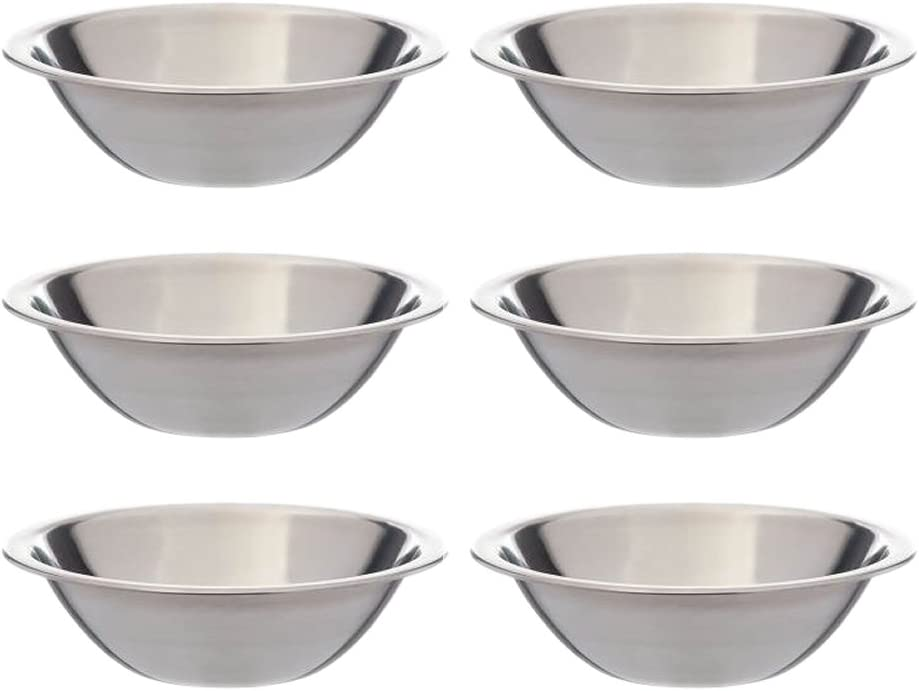 SET OF 6-6 1/2 Inch Wide Stainless Steel Flat Rim Flat Base Mixing Bowl