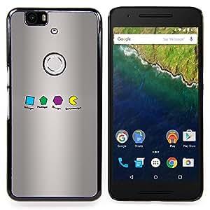 "Qstar Arte & diseño plástico duro Fundas Cover Cubre Hard Case Cover para Huawei Google Nexus 6P (Geometría Formas Om Nom"")"