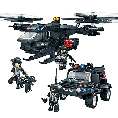 WOMA Police Swat Team Scout Helicopter and Off-Road Car Military Models Building Sets Lego Compatible Bricks Toys with Storage Box 594-Pieces (Scout Helicopter)