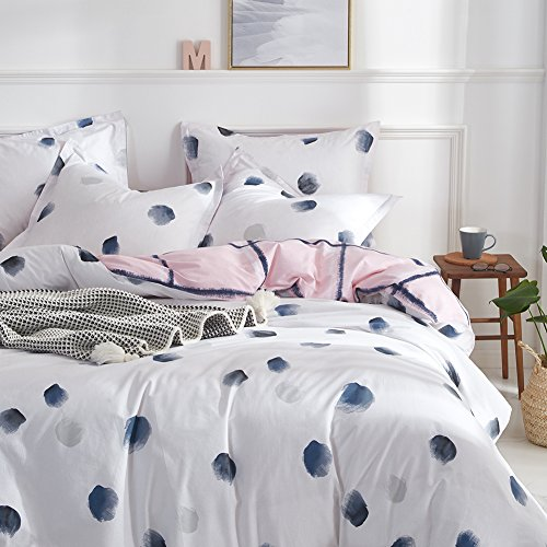 Joyreap 3 Pieces Dotted White Duvet Cover Set, 100% Cotton with Gray Watercolor Dots Printed, Simple Modern Quilt Cover Sets with Zippers & Corner Ties, Soft Cozy for Spring/Summer (Ink Dot,Queen)