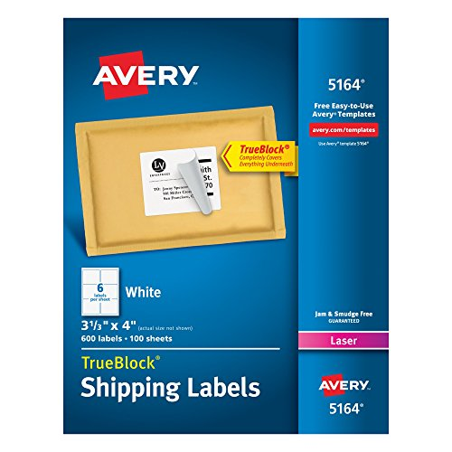 Avery Shipping Address Labels, Laser Printers, 3,000 Labels, 3-1/3x4 Labels, Permanent Adhesive, TrueBlock (5-Pack ()