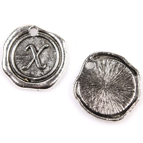 24pcs Antique Silver Round Tag Carved Letter X Alloy Charms Handmade Findings