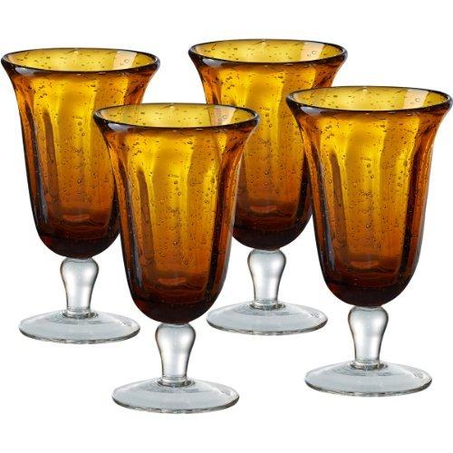 Artland Savannah Amber Bubble Glass Goblet, Set of 4
