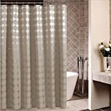 Uforme Home Fashion Geometric Shower Curtain X-long Fabric Bathroom Curtain Waterproof and Anti-mildews with Lead Weight, Mocha, 72 Inch By 78 Inch