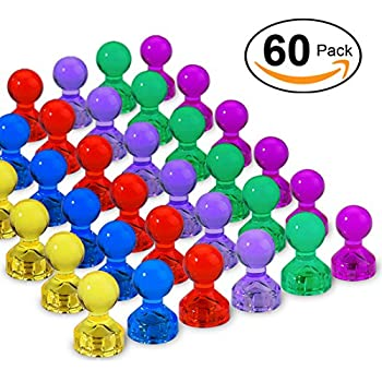60 Pack Strong Magnetic Push Pins - Home,School and Office Push Pin Magnets - 6 Assorted Color Push Pin Magnets Perfect for Maps,Whiteboards,Refrigerator ,Calendars and More