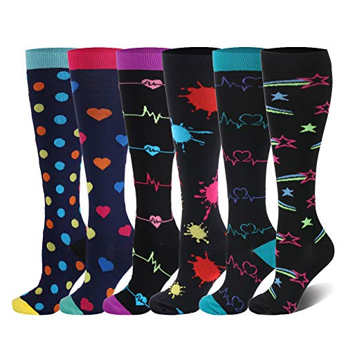 HLTPRO Compression Socks 20-30 mmHg Women & Men - 1/4/6 Pairs Compression Stockings for Running Nurse
