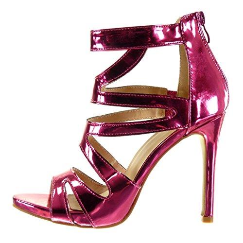 aguja de Sandalias Tacón Fushia escarpín alto brillantes stiletto de de Zapatillas Tacón tobillo mujer Correa 5 CM 11 sexy Talón Moda Angkorly tq564waK