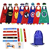 Masbros Kids Dress Up Costumes Cartoon 8 Satin Capes Set with Slap Bracelets Birthday Party Supplies