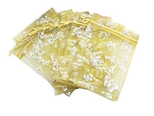 QIANHAILIZZ 5 x 7 Inch 100 Butterfly Organza Jewelry Gift Pouch Candy Pouch Drawstring Wedding Favor Bags (Gold, 5x7inch)