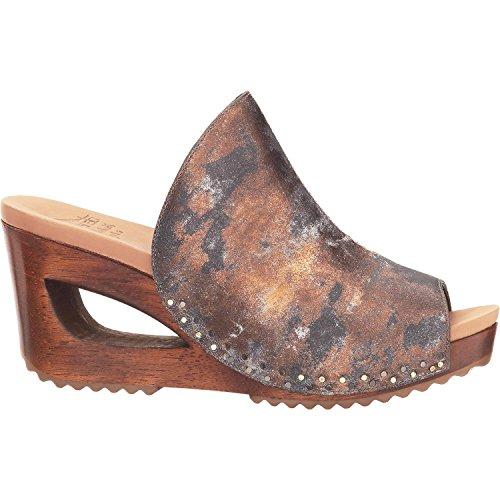 Dansko Womens Sage Wedge Denim Metallic Sandal - 40 - Dansko Sage